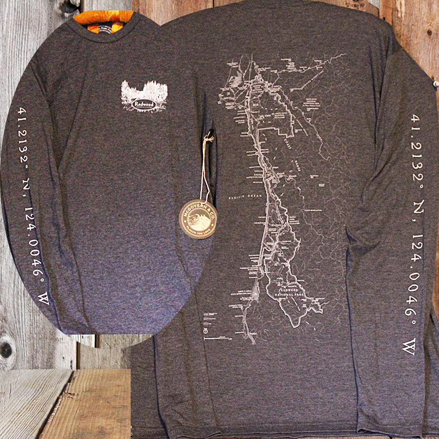 Redwood National and State Parks Long Sleeve Map Shirt