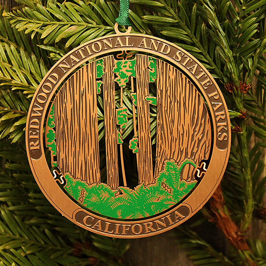 Redwood National and State Parks Copper 3-D Ornament depicting the mighty Redwoods