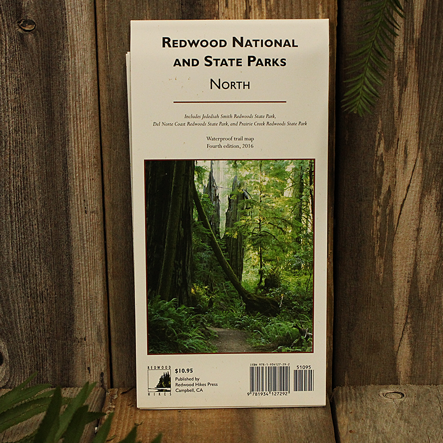 Redwood National and State Parks Trail Map, North. covers Jedediah Smith Redwoods, Del Norte Coast Redwoods, and Prairie Creek Redwoods State Parks. Scale 1:25,000