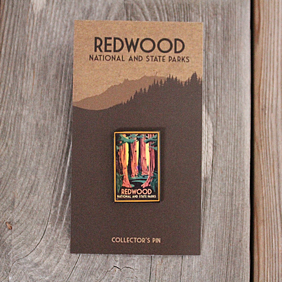 Redwood National and State Parks WPA style lapel pin.  The artwork of this pin is of the WPA style of the 1930s.