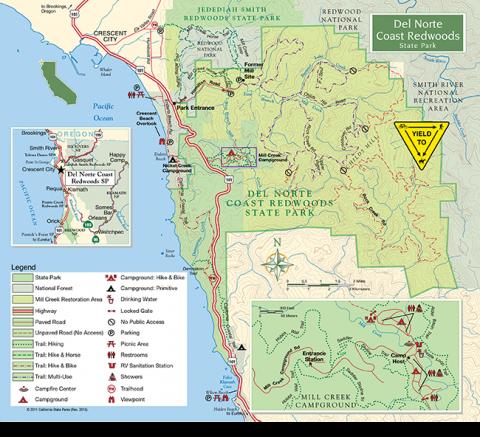 Del Norte Coast Redwoods State Park | Redwood Parks Conservancy on saluda shoals park map, oconee state park map, hunting island state park map, lake greenwood state park map, tugaloo state park map, hart state park map, devils fork state park map, hickory knob state park map, poinsett state park map, harbison state forest map,