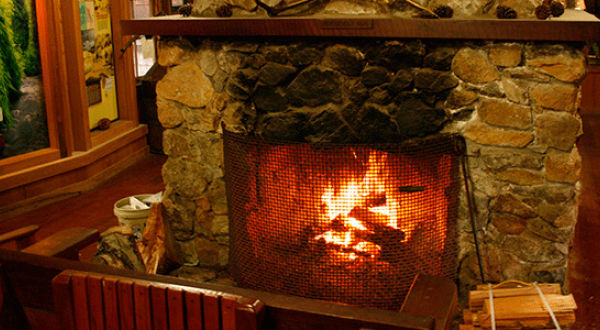 Nice warm fire burning in the fireplace of the Prairie Creek Redwoods State Park visitor center