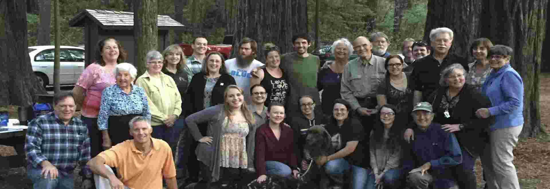 Volunteers and staff enjoying an end of the summer season BBQ with Redwood Parks Conservancy