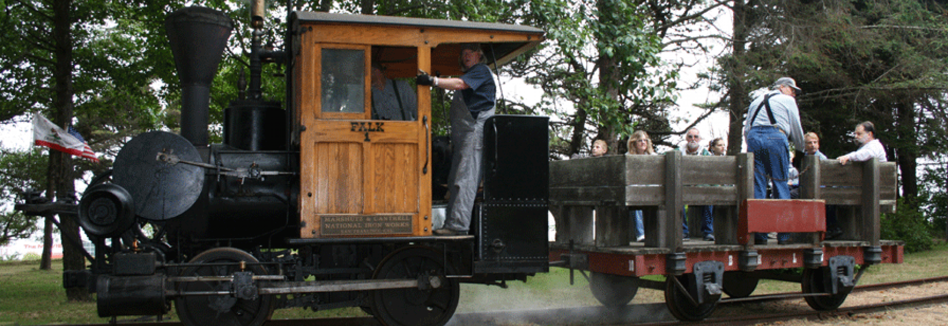 Falk is a small steam powered locomotive used in the late 19th century to move logs in the lumber yards