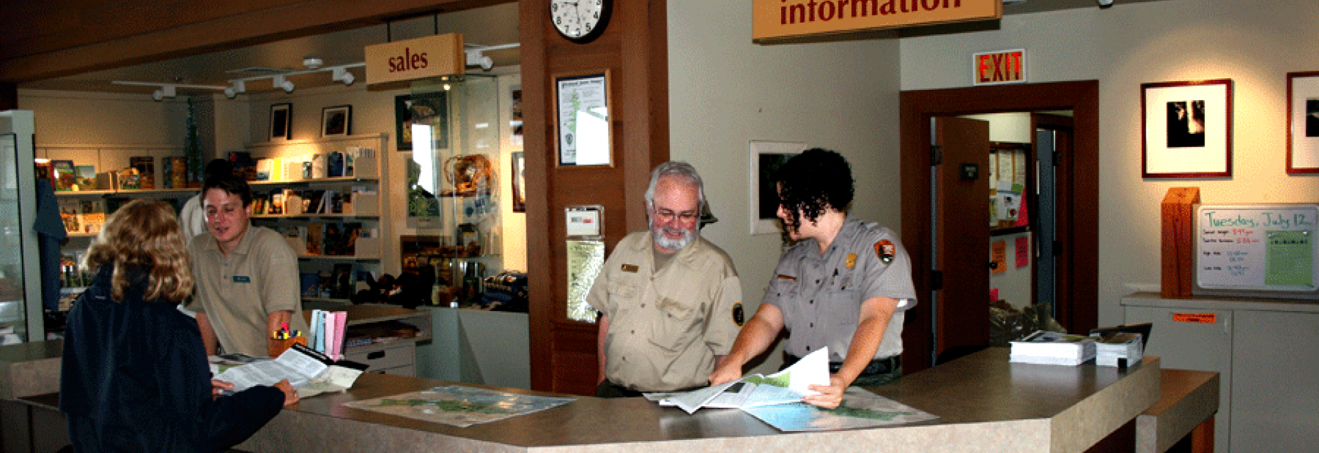 Thomas H. Kuchel Visitor Center staff and volunteers helping visitors